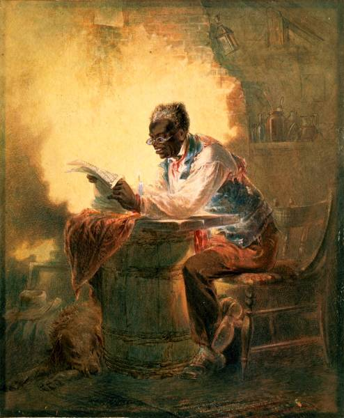"Henry Louis Stephens, untitled watercolor (c. 1863) of a man reading a newspaper with headline ""Presidential Proclamation / Slavery."""