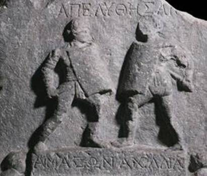 Two Greek female gladiators, Amazonia and Achillea.
