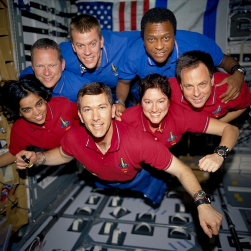 Bottom row (L to R): astronauts Kalpana Chawla, mission specialist; Rick D. Husband, mission commander; Laurel B. Clark, mission specialist; and Ilan Ramon, payload specialist.Top row (L to R): astronauts David M. Brown, mission specialist; William C. McCool, pilot; and Michael P. Anderson, payload commander.