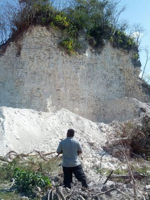Not much remains of the Nohmul Pyramid in Belize.