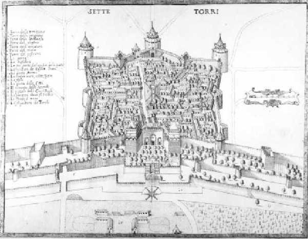 Depiction of the Seven Towers Fortress, c. 1685, Francesco Scarella.
