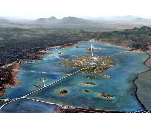 An artist's conception of what Tenochtitlan may have looked like when Spanish explorers arrived.