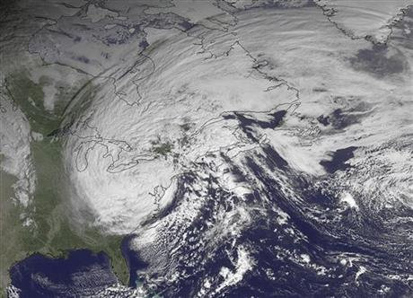 This NOAA satellite image, taken October 30, 2012, at 10:45 A.M. EDT, shows Sandy moving westward while weakening across southern Pennsylvania.  Roughly 1,000 miles, Sandy was the largest Atlantic system on record.  Photo courtesy National Oceanic and Atmospheric Administration (NOAA).