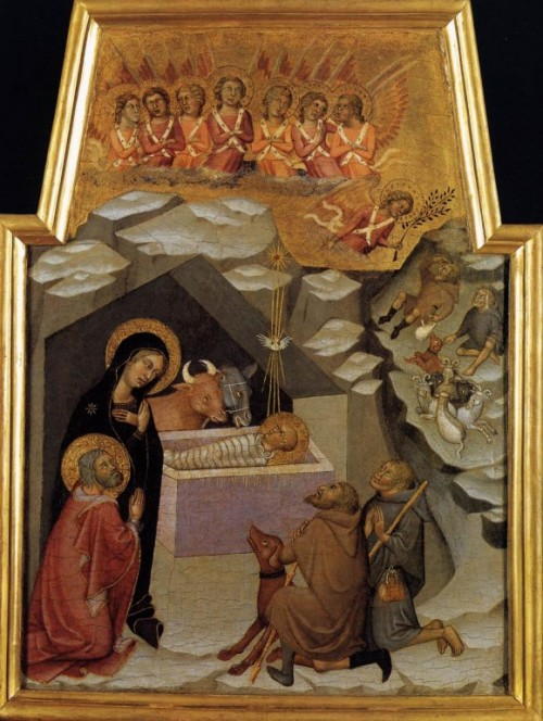 "Bartolo di Fredi, ""Nativity and Adoration of the Shepherds,"" Vatican Museums, 1383."