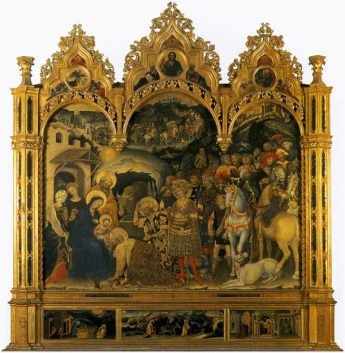 "Gentile da Fabriano, ""Adoration of the Magi,"" 1423, Galleria degli Uffizi – Florence."