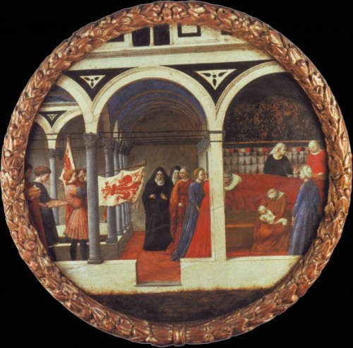 Masaccio, Birth salver depicting the nativity, with Florentine horn-blowers, ca. 1427, Staatliche Museen – Berlin.