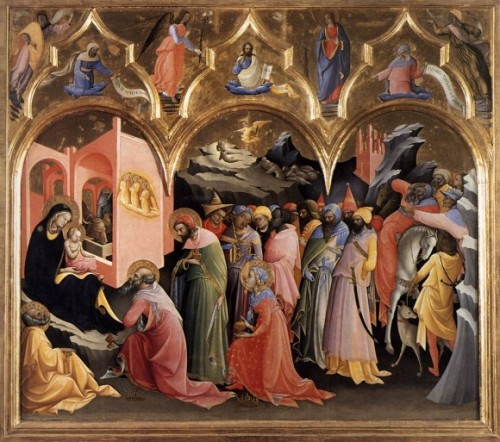 "Lorenzo Monaco, ""Adoration of the Magi,"" 1422, Galleria degli Uffizi – Florence."