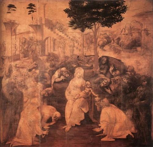 "Leonardo da Vinci, (unfinished) ""Adoration,"" 1481, Galleria degli Uffizi – Florence."