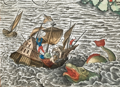 "In ""Theatrum orbis terrarum,"" first published in 1570 by Flemish cartographer Abraham Ortelius, Jonah is cast overboard to a sea monster."