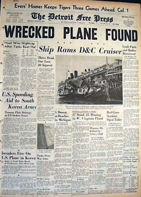 "A ""Detroit Free Press"" cover story from June 25, 1950 gave false hopes about the missing plane."