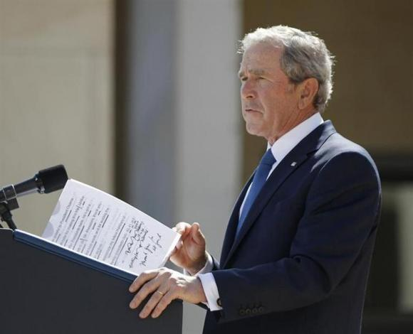 George W. Bush delivers remarks at the opening of his library in Dallas on April 25, 2013.