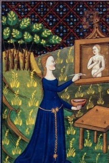 Unknown artist from detail of a miniature of ancient Greek artist Thamyris (Timarete) painting her picture of the goddess Diana, N. France, (Rouen). The original is in the British Library collection ID 43537, c 1400-25.