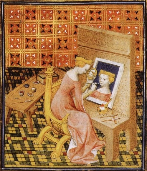 "Unknown artist 'Marcia Painting Self-Portrait using Mirror,' from Giovanni Boccaccio, ""De Mulieribus Claris,"" anonymous French translation, Le livre de femmes nobles et renomees, France, c 1440 British Library Artiste faisant son autoportrait."