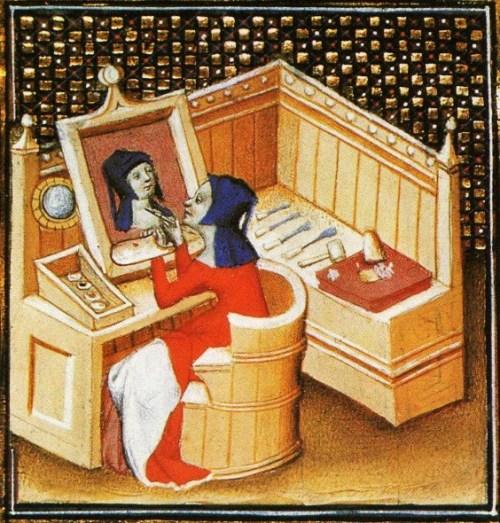 """Unknown artist from Giovanni Boccaccio, """"De Mulieribus Claris,"""" anonymous French translation, Le livre de femmes nobles et renomees, France, c 1440 British Library Autoportrait sur bois."""
