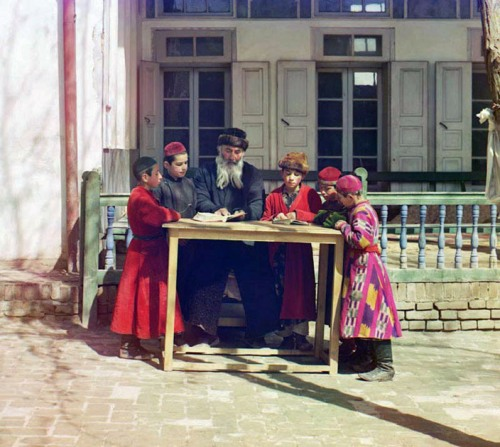 Group of Jewish children with a teacher, 1911.