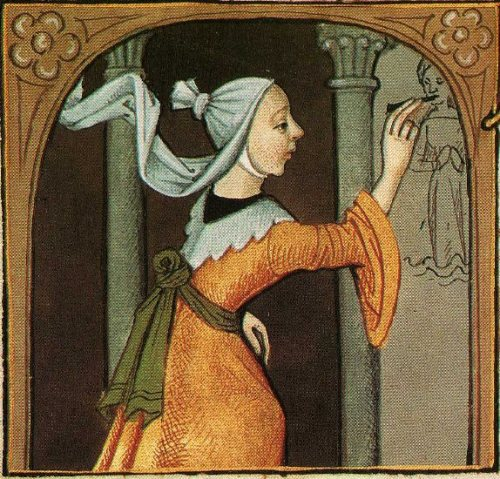 """Unknown artist from Giovanni Boccaccio, """"De Mulieribus Claris,"""" anonymous French translation, Le livre de femmes nobles et renomees, France, c 1440 British Library Artiste préparant une fresque."""