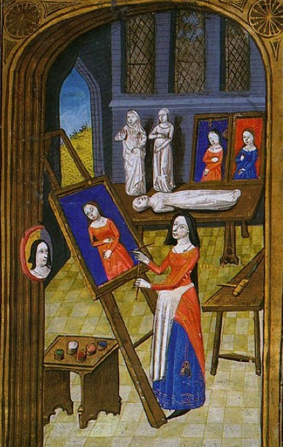"Unknown artist from Giovanni Boccaccio, ""Des cléres et nobles femmes,"" Spencer Collection MS. 33, f. 37v, French, c. 1470 Artist in her Atelier."