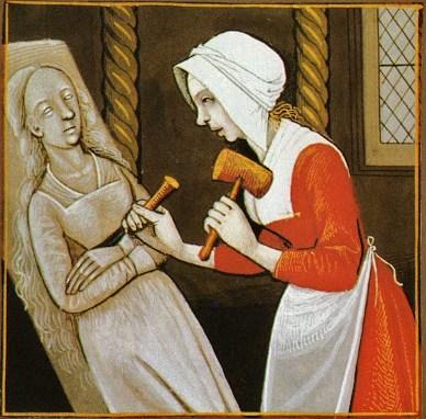 """Unknown artist from Giovanni Boccaccio, """"De Mulieribus Claris,"""" anonymous French translation, Le livre de femmes nobles et renomees, France, c 1440 British Library Femme Sculpteur."""