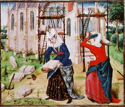 Roman des Girart von Roussillon, Cod. 2449, f. 167v, Flemish, 1447, Österreichishe Nationalbibliothek, Vienna. Women Building.