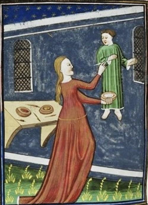 "Royal 16 G V f. 73v Irene, Giovanni Boccaccio, ""De Mulieribus Claris,"" anonymous French translation, Le livre de femmes nobles et renomees, France, c 1440 British Library."