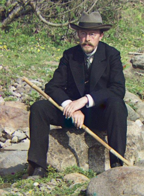 Sergey Prokudin-Gorsky self-portrait at the Korolistskali River, 1912.