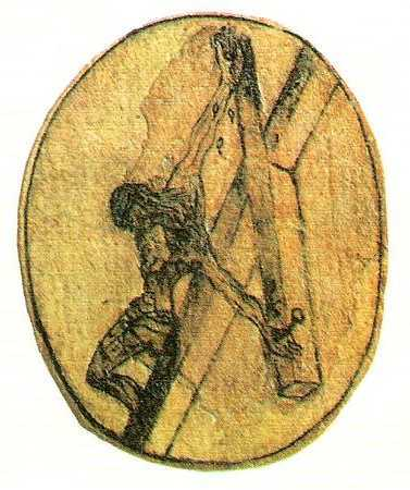 The crucifixion sketch by St. John of the Cross – the inspiration for Dalí's drawing.