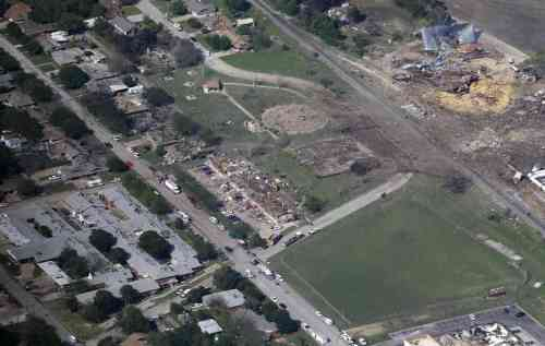 Remains of the West Fertilizer Plant are at the upper right.