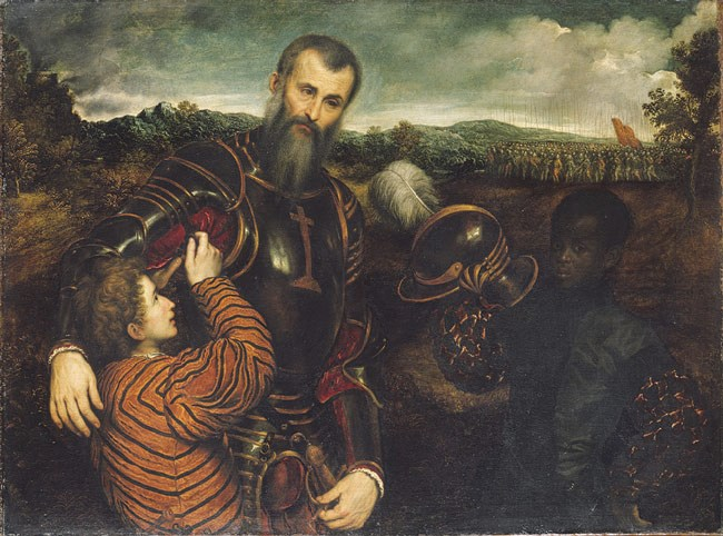 """""""Portrait of a Man in Armor with Two Pages,"""" Paris Bordone, 1530s."""