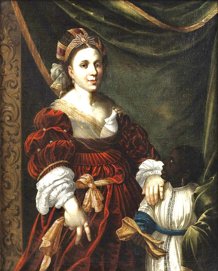 """""""Courtly Lady with Moor Boy,"""" unknown German artist, 1600s."""