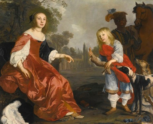 """Portrait of Two Children as Hunters in a Garden,"" Nicholas van Helt, 1640s."