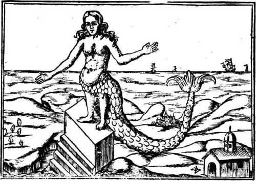"""Depiction of Atargatis, chief goddess of Northern Syria, from the medieval text """"Oedipus Aegyptiacus,"""" 1652."""