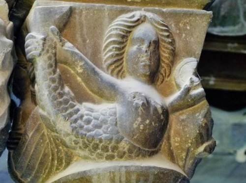 Stone delineation of a mermaid in the Monastery of Santa Maria in Ripoll, Spain, which was founded in A.D. 879.