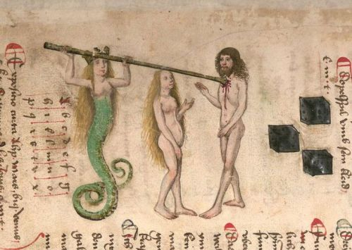 """Mermaid spearing a man's heart in """"Book of the Holy Trinity,"""" 15th century Germany, München, Bayerische Staatsbibliothek, Cgm 598, fol. 2r."""