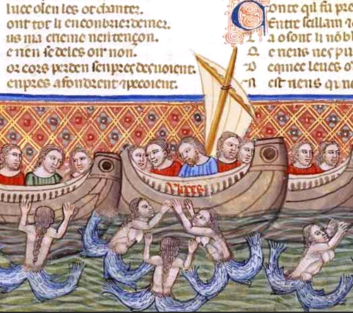 Mermaids besiege a ship and its crew in another medieval text.