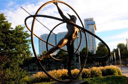 One of nine bronze sculptures by artist Jorge Marin in Houston.  Try not to look too hard.