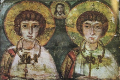 "Illustration of Saints Serge and Bacchus allegedly united in a same-sex union. Source: Annalee Newitz, ""Gay marriage in the year 100 AD,"" io9.com, July 29, 2013."