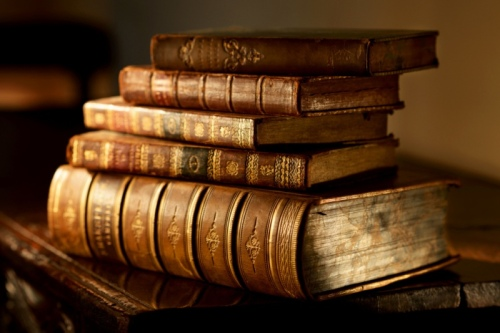 Old Covered Books on Table HD Wallpaper
