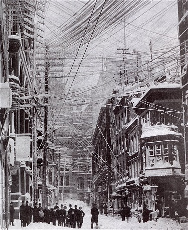 "The ""Great Blizzard of 1888"" paralyzed the urban centers of the Northeastern U.S., such as New York City."