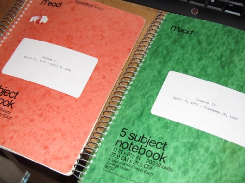 My first two personal journals, which covered the dreaded year of 1985.